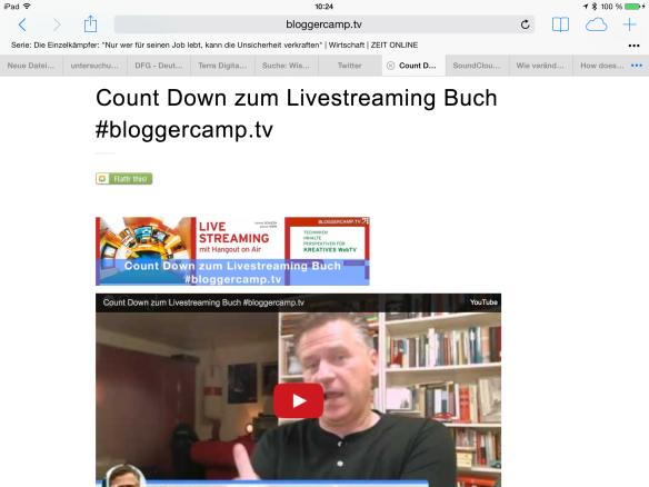 Letzte Recherchen für das Livestreaming-Buch