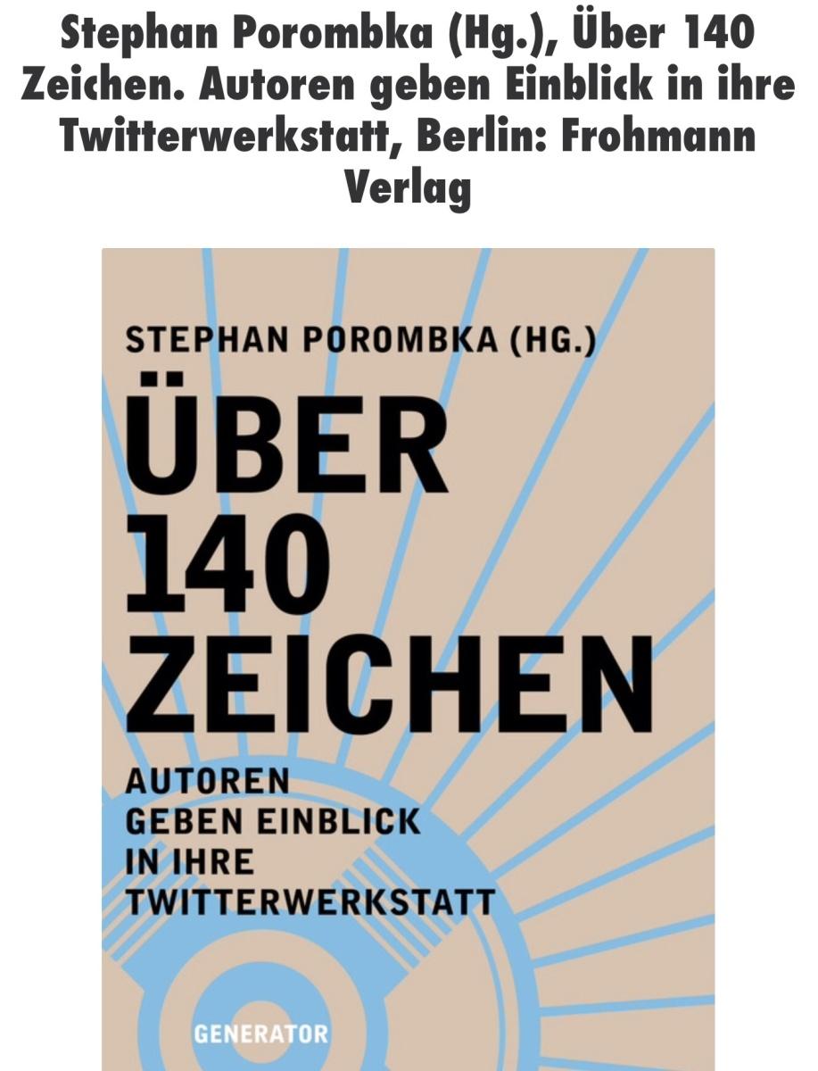 Über Twitteratur, experimentelle Timeline-Poetik und @FrauFrohmann