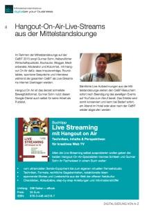 Livestreaming-Ankündigung