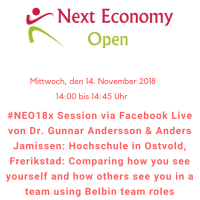 #NEO18x Session von Dr. Gunnar Andersson & Anders Jamissen: Hochschule in Ostvold, Frerikstad: Comparing how you see yourself and how others see you in a team using Belbin team roles
