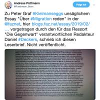 @Puettmann_Bonn Leserbrief an die @faznet: Peter Graf Kielmansegg und der Festschmaus für AfD-Demagogen